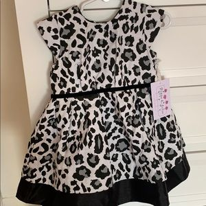 Pippa & Julie black & white leopard party dress